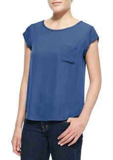 Joie Rancher Silk Short-Sleeve Top, Sea Blue
