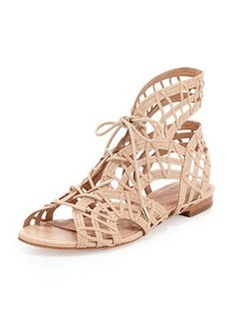 Joie Renee Lace-Up Flat Sandal, Nude