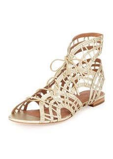 Joie Renee Lace-Up Gladiator Sandal, White Gold