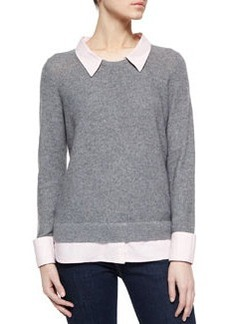 Joie Rika Shirttail Sweater, Heather Gray/Pink
