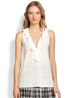 Joie Rissa Silk Sleeveless Ruffled Blouse