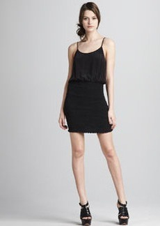 Joie Ruched-Skirt Combo Dress