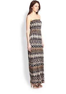 Joie Ruma Strapless Printed Jersey Maxi Dress