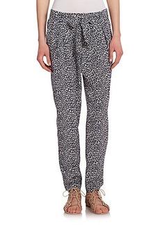 Joie Rutilda Silk Animal-Print Pants