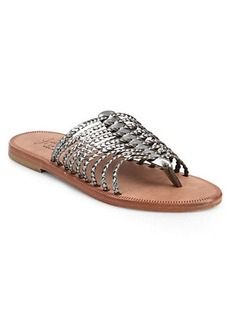 Joie Sahara Braided Metallic Leather Sandals