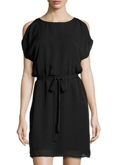 Joie Sarama Cold-Shoulder Belted Dress, Caviar