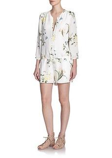 Joie Sarnelle Silk Floral Print Short Jumpsuit
