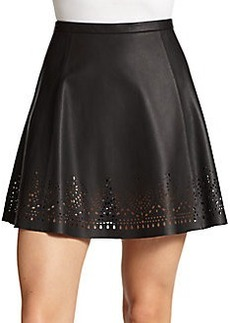 Joie Senica Laser-Cut Leather Skirt