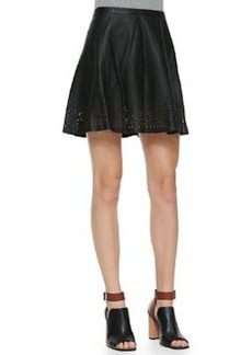 Joie Senica Perforated-Hem Leather Skirt
