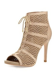 Joie Shari Perforated Lace-Up Bootie, Buff
