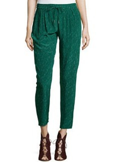 Joie Silk Taper-Leg Pants, Hunter