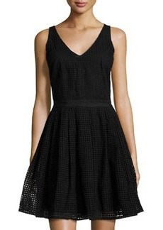 Joie Sleeveless Fit-&-Flare Dress, Caviar