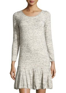 Joie Slub-Knit Fit-and-Flare Sweaterdress, Sterling/Caviar