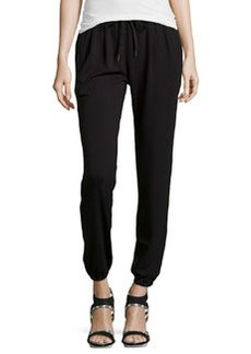 Joie Solan Leather-Trimmed Jersey Sweatpants, Caviar