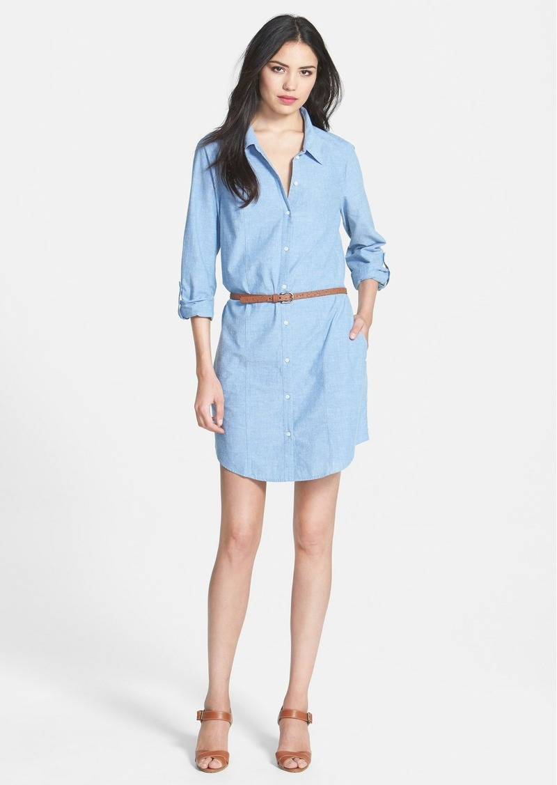 Joie 'Tarellia' Belted Cotton Chambray Shirtdress