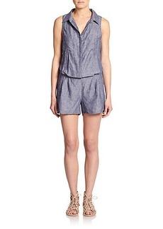 Joie Toinette Linen Cutout Short Jumpsuit