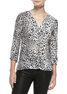 Joie Willy V-Neck Leopard-Print Blouse