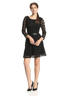 Joie Women's Baronessa Lace Fit and Flare Dress, Caviar, Small