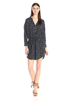 Joie Women's Deangela Ikat Animal Printed Challis Long Sleeve Dress, Dark Cool Grey, Large