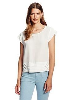 Joie Women's Lorelle Novelty Pleated Short Sleeve Silk Blouse