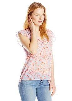 Joie Women's Macy B Silk Watercolor Poppy Ruffled Top