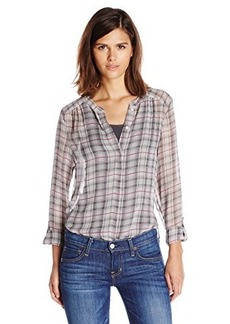 Joie Women's Marice Silk Shadow Plaid Long Sleeve Blouse
