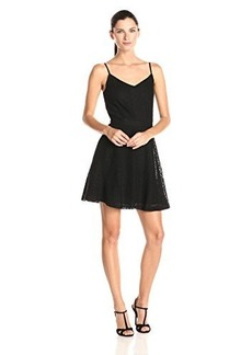 Joie Women's Viernan Cluny Lace Fit and Flare Dress, Caviar, X-Small