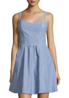 Joie Yomi Chambray Sleeveless Fit-&-Flare Dress