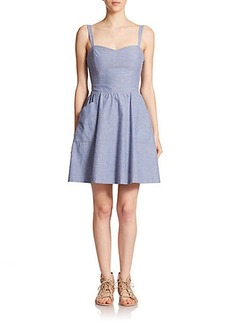 Joie Yomi Fit-&-Flare Chambray Dress