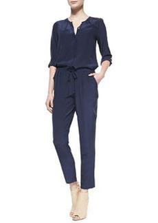 Keyaan Tab-Sleeve Silk Jumpsuit   Keyaan Tab-Sleeve Silk Jumpsuit