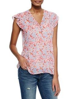 Macy B Floral-Print Silk Top   Macy B Floral-Print Silk Top