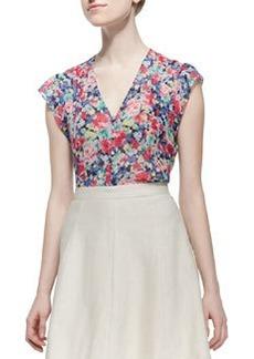 Macy D Silk Floral-Print Blouse   Macy D Silk Floral-Print Blouse