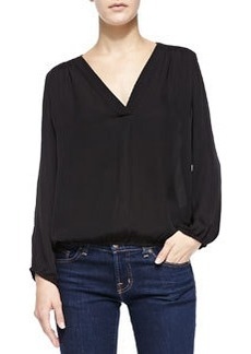 Madrina V-Neck Blouse W/ Bishop Sleeves   Madrina V-Neck Blouse W/ Bishop Sleeves