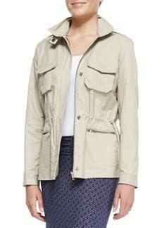 Malinia Drawstring-Waist Anorak Jacket   Malinia Drawstring-Waist Anorak Jacket