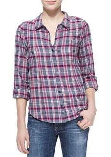Michaela Plaid Button-Down Blouse   Michaela Plaid Button-Down Blouse