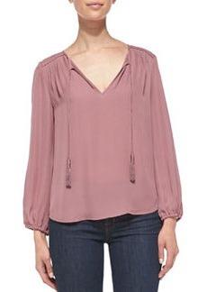 Odelette Tassel-Tie Silk Blouse   Odelette Tassel-Tie Silk Blouse