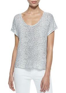 Omnira Short-Sleeve Leopard-Print Tee   Omnira Short-Sleeve Leopard-Print Tee