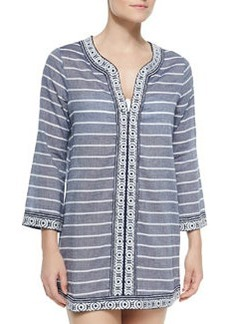 Samali Striped Tunic W/ Embroidered Trim   Samali Striped Tunic W/ Embroidered Trim