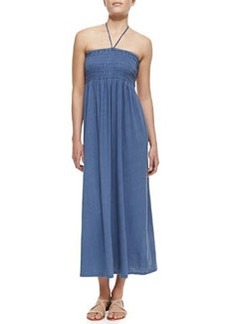 Soft Joie Acadia Smocked Linen-Blend Halter Maxi Dress, Vintage Indigo