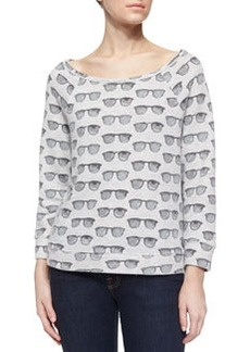 Soft Joie Banner Sunglasses-Print Jersey Top, Heather Gray