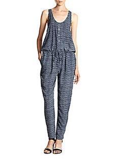 Soft Joie Biltmore Printed Blouson-Waist Jumpsuit