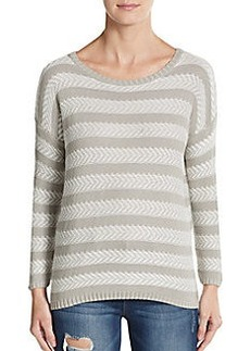 Soft Joie Cairo Chevron-Striped Cotton Sweater