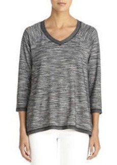 3/4 Sleeve Black and Ivory Pullover (Plus)