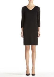 3/4 Sleeve Black V-Neck Dress (Plus)