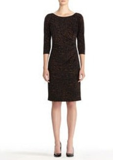 3/4 Sleeve Boat Neck Dress with Side Tuck
