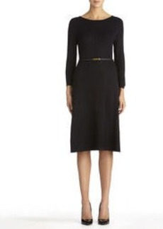 3/4 Sleeve Boat Neck Fit and Flare Dress