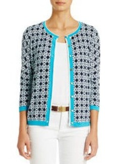 3/4 Sleeve Button-Front Cardigan Sweater (Plus)