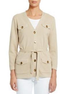 3/4 Sleeve Cardigan Sweater with Belt (Plus)