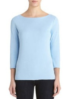 3/4 Sleeve Cotton Boat Neck Top (Plus)