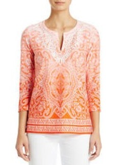 3/4 Sleeve Cotton Tunic (Plus)
